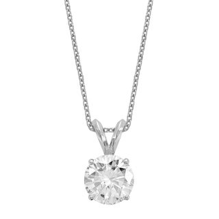 14 Karat White Gold 7.5 mm Round True Light Moissanite Solitaire Pendant on 18 Cable Necklace