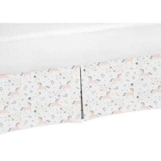 Sweet Jojo Designs Pink, Grey and Gold Unicorn Collection Twin Bed Skirt