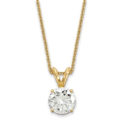 Versil 14 Karat Yellow Gold 6.5 mm Round True Light Moissanite Solitaire Pendant on 18 Cable Necklace