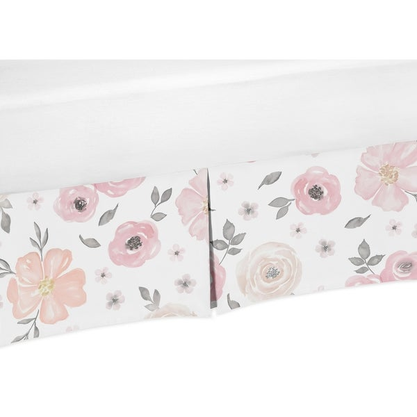 Sweet Jojo Designs Blush Pink, Grey and White Watercolor Floral Baby Girl Collection Crib Bed Skirt