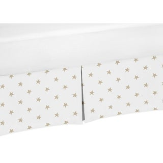 Sweet Jojo Designs Gold and White Star Celestial Collection Toddler Bed Skirt