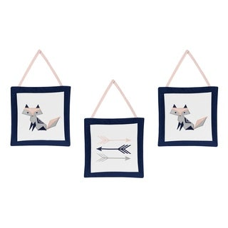 Sweet Jojo Designs Navy Blue, Pink, and Grey Woodland Fox and Arrow Collection Wall Hangings (Set of 3)