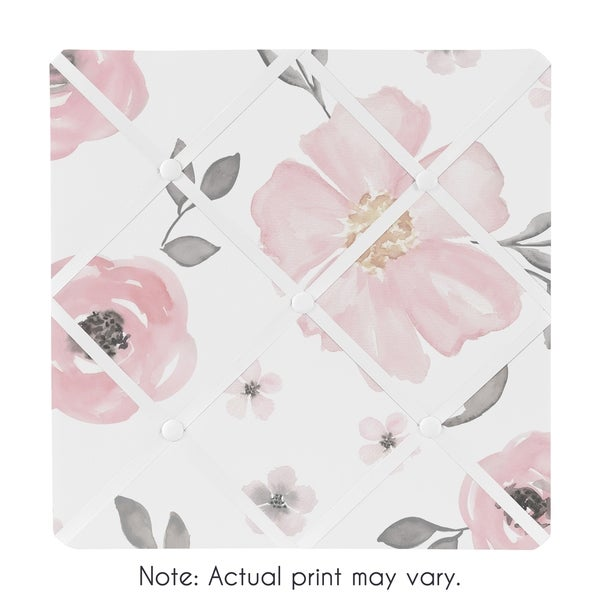 Sweet Jojo Designs Blush Pink, Grey and White Watercolor Floral Collection 13-inch Fabric Memory Photo Bulletin Board