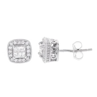 H Star Sterling Silver 1/2ct TDW Princess-cut Diamond Quad Earrings