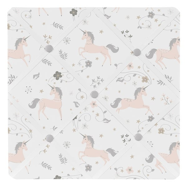 Sweet Jojo Designs Pink, Grey and Gold Unicorn Collection 13-inch Fabric Memory Photo Bulletin Board. Opens flyout.