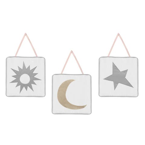 Sweet Jojo Designs Blush Pink, Gold, Grey and White Star and Moon Celestial Collection Wall Hangings (Set of 3)