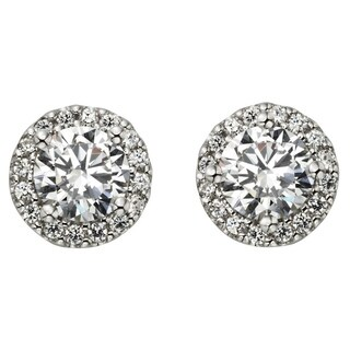 H Star Sterling Silver 2ct Diamagem Halo Earrings - White