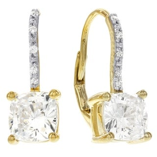H Star 10 Karat Yellow Gold Cubic Zirconia Princess Cut Lever Back Earrings