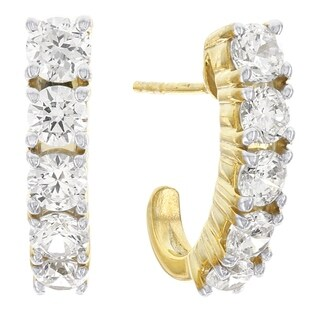 H Star 10 karat Yellow Gold Cubic Zirconia Graduated J-hoop Earrings