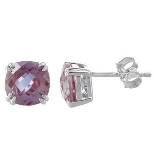 H Star Sterling Silver Created Alexandrite Stud Earrings