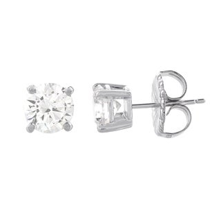 H Star 14 Karat White Gold Diamagem Stud Earrings