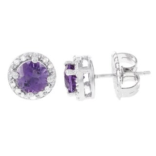 H Star Sterling Silver Amethyst and Diamond Accent Stud Earrings (I-J, I2-I3)