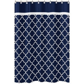 Sweet Jojo Designs Navy Blue and White Modern Trellis Lattice Collection Bathroom Fabric Bath Shower Curtain