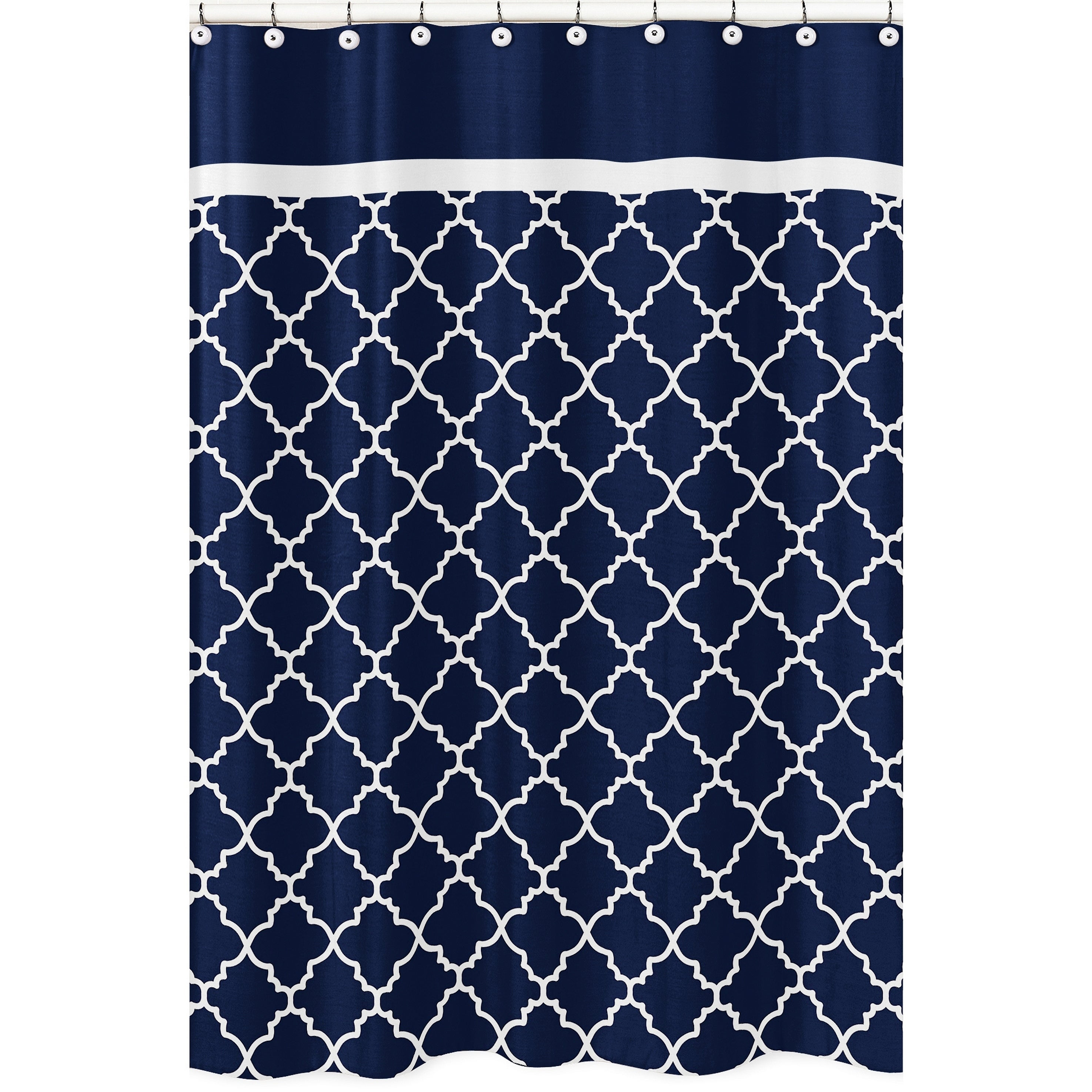 Sweet Jojo Designs Navy Blue And White Modern Trellis Lattice Collection Bathroom Fabric Bath Shower Curtain