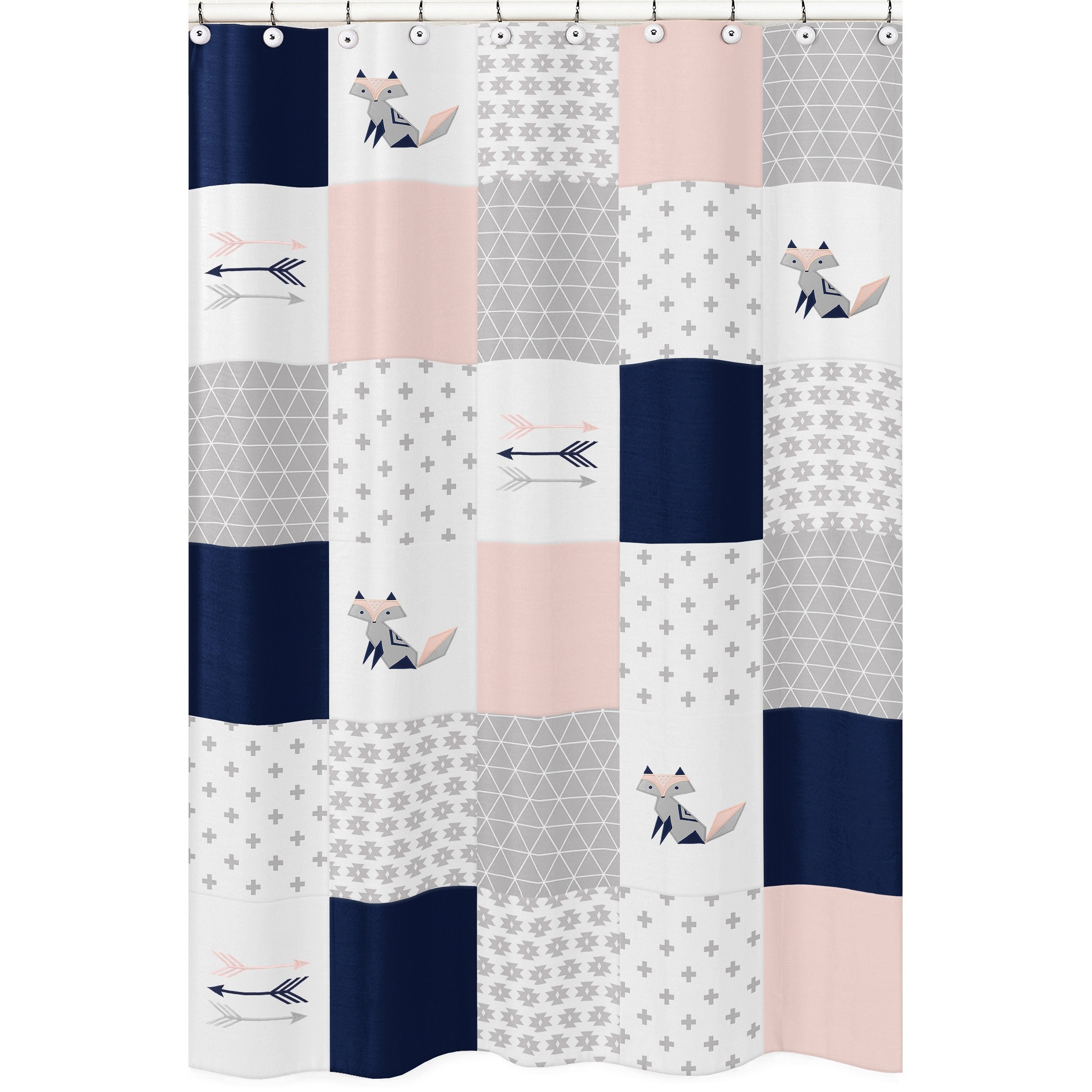 Sweet Jojo Designs Navy Blue Pink And Grey Patchwork Woodland Fox Arrow Collection Bathroom Fabric Bath Shower Curtain