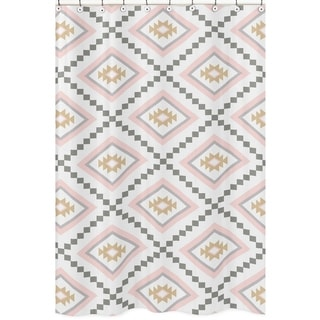 Sweet Jojo Designs Blush Pink and Grey Boho Aztec Collection Bathroom Fabric Bath Shower Curtain