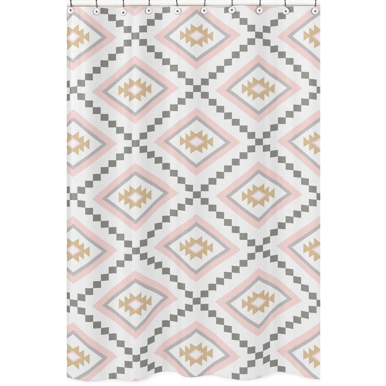 Sweet Jojo Designs Blush Pink And Grey Boho Aztec Collection Bathroom Fabric Bath Shower Curtain