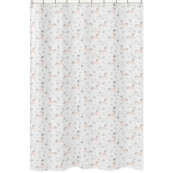 Sweet Jojo Designs Pink, Grey and Gold Unicorn Collection Bathroom Fabric Bath Shower Curtain