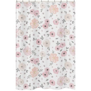 Sweet Jojo Designs Blush Pink, Grey and White Watercolor Floral Collection Bathroom Fabric Bath Shower Curtain