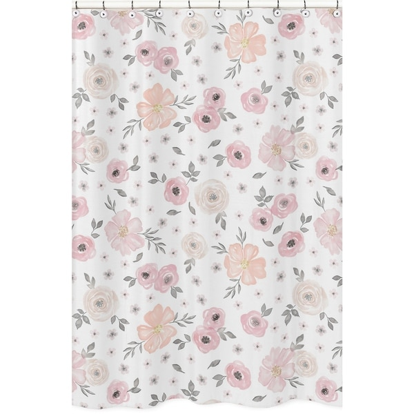 Sweet Jojo Designs Blush Pink Grey And White Watercolor Floral Collection Bathroom Fabric Bath Shower