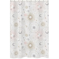 Sweet Jojo Designs Blush Pink, Gold, and Grey Star and Moon Celestial Collection Bathroom Fabric Bath Shower Curtain