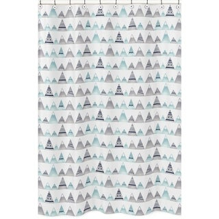 Sweet Jojo Designs Navy Blue, Aqua and Grey Aztec Mountains Collection Bathroom Fabric Bath Shower Curtain