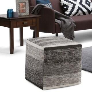 WYNDENHALL Frances Transitional Cube Pouf in Patterned Grey Melange Cotton