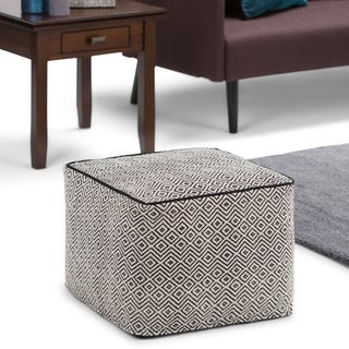 WYNDENHALL Dougan Transitional Square Pouf in Patterned Black, Natural Cotton