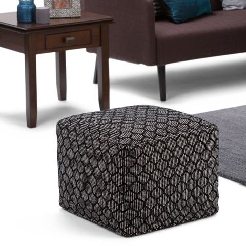 WYNDENHALL Jessica Transitional Square Pouf in Patterned Black, Natural Cotton (As Is Item)