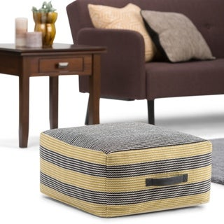 WYNDENHALL Simmons Transitional Square Pouf in Patterned Grey, Yellow Cotton