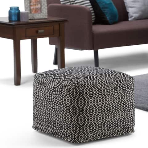 WYNDENHALL Wentworth Transitional Square Pouf in Patterned Black, Natural Cotton