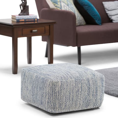 WYNDENHALL Terri Transitional Square Pouf in Patterned Denim Melange Cotton