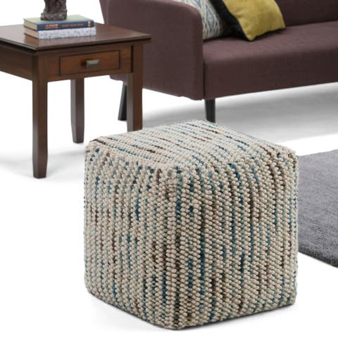 WYNDENHALL Malcolm Transitional Cube Woven Pouf in Multi Color Cotton and Wool