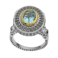 Pangea Mines Sterling Silver Two Tone Blue Topaz Ring - White