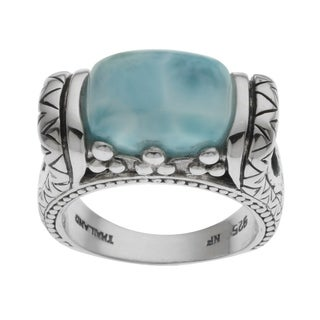 Pangea Mines Sterling Silver Larimar & Blue Topaz Ring
