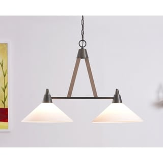 Design Craft Apex Aged Metal and Light Wood 100-watt 2-light Island Light With Clear Glass Shades
