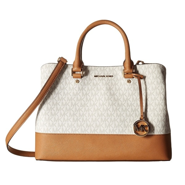 70ed385d38a1 Shop Michael Kors Savannah Signature Large Vanilla/Acorn Satchel ...