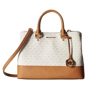 Michael Kors Savannah Signature Large Vanilla/Acorn Satchel Handbag