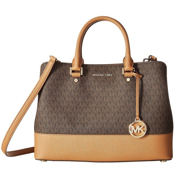 e1c75906f63f Shop Michael Kors Savannah Signature Large Brown/Acorn Satchel ...