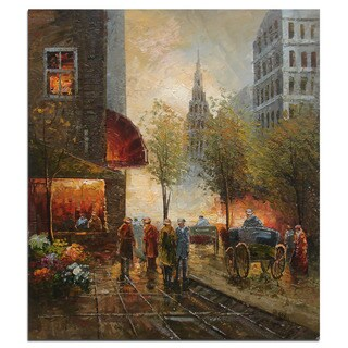 Winter Street Scene 20 x 24-inch Hand-painted Oil Canvas