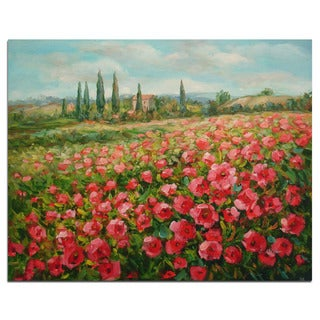 Fine original oil painting of red poppy flower field on canvas 20-inchx24-inch