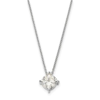 14 Karat White 6.00mm Cushion True Light Moissanite Pendant 1.1 Carat Necklace