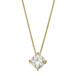 14 Karat Yellow 5.00mm Cushion True Light Moissanite Pendant 0.6 Carat Necklace