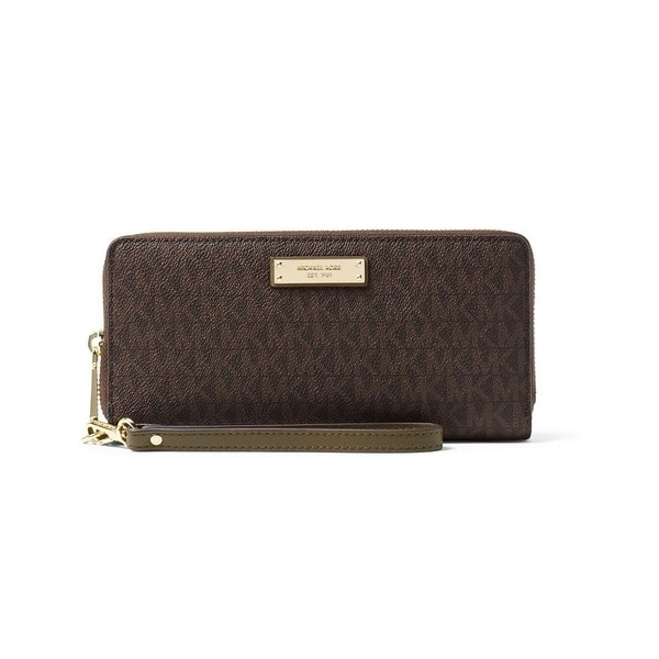 855d362011d151 Shop Michael Kors Jet Set Travel Brown/Olive Continental Wristlet ...