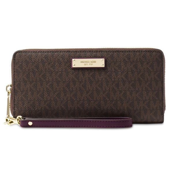 12475a76dab8 Shop Michael Kors Jet Set Travel Brown/Damson Continental Wristlet Wallet -  On Sale - Free Shipping Today - Overstock - 19205709