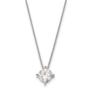14 Karat White 6.50mm Cushion True Light Moissanite Pendant 1.3 Carat Necklace