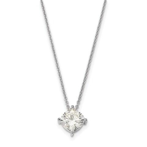 14 Karat White 5.50mm Cushion True Light Moissanite Pendant 0.8 Carat Necklace
