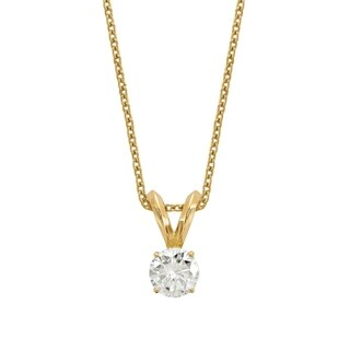 14 Karat Yellow 5.0 mm Round True Light Moissanite Solitaire Pendant 0.5 Carat Necklace