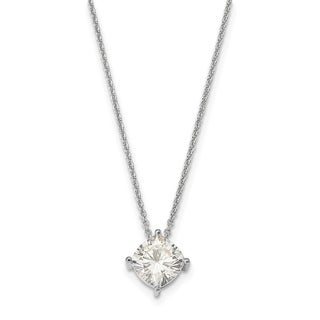 14 Karat White 5.00mm Cushion True Light Moissanite Pendant 0.6 Carat Necklace