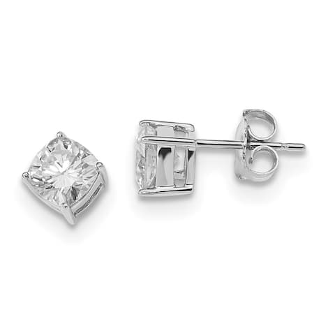 Moissanite 14 Karat White Gold 5.50mm Cushion Cut Earrings by Versil